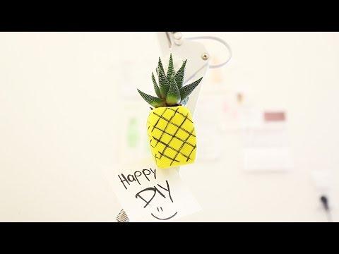 DIY - Mini Ananas-Magnet aus Fimo selber machen