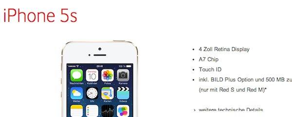vodafone iphone 5s 1 euro