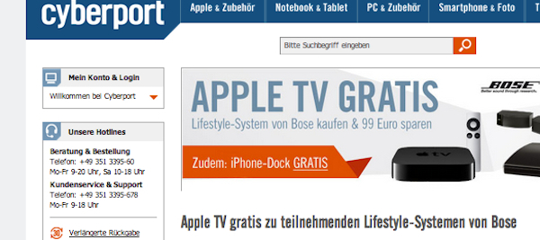 cyberport apple tv iphone dock gratis