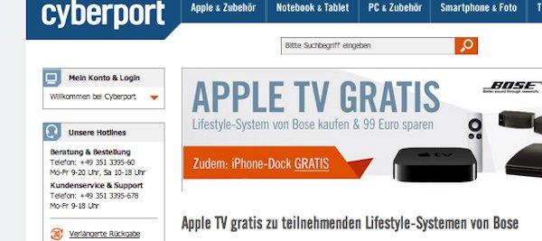 cyberport apple tv iphone dock gratis