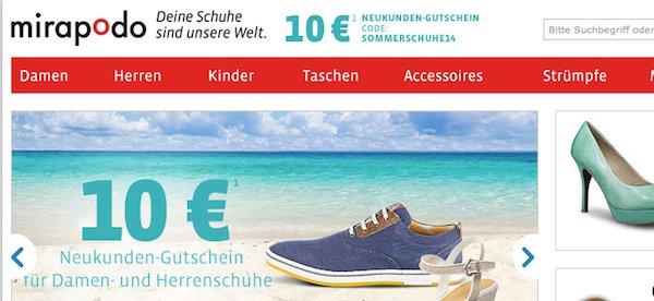 mirapodo 10 euro gutschein