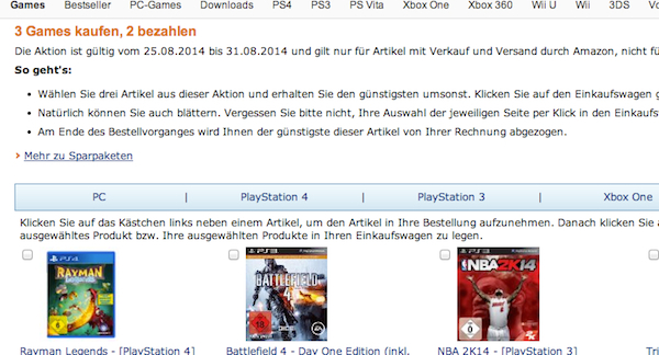 amazon 3 games für 2