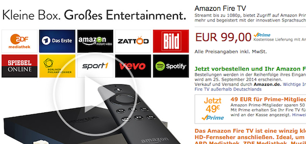Amazon Fire TV Rabatt