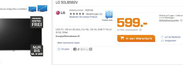 LG 50LB582V saturn rabatt