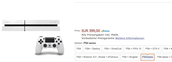 amazon ps4 weiß driveclub rabatt