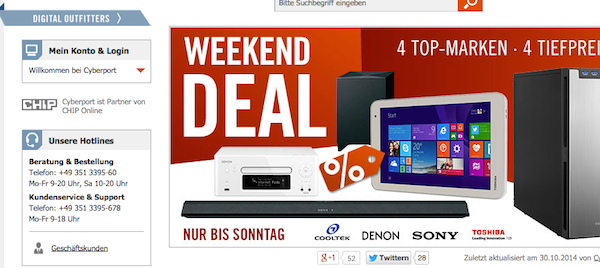 cyberport weekend deals 30.10.2014