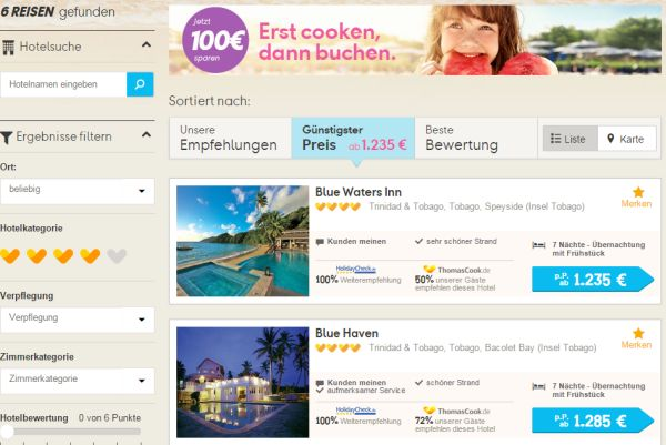 thomas cook 100 euro rabatt tobago