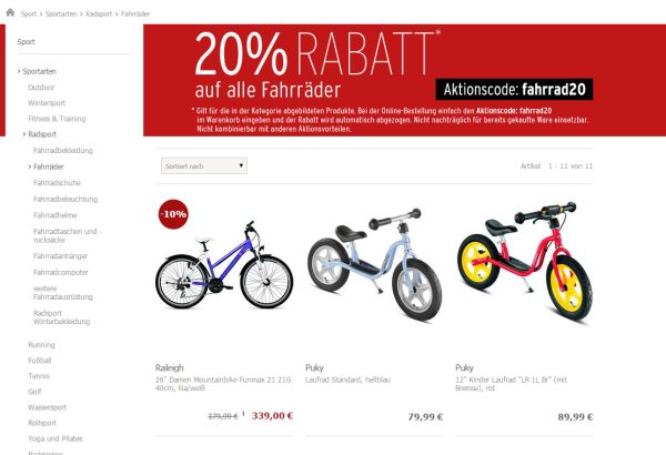 karstadt 20 prozent rabatt fahrräder