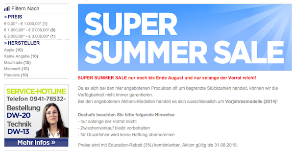 mactrade super summer sale 200 euro rabatt
