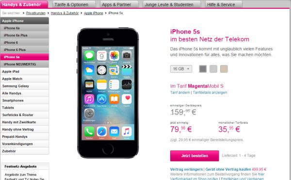 apple iphone 5s telekom 50 prozent rabatt