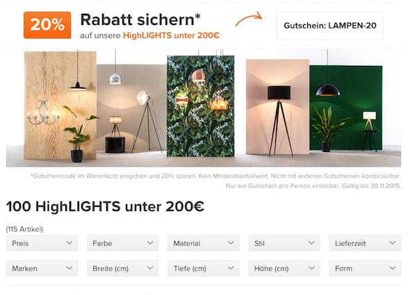 home24 20 prozent rabatt lampen