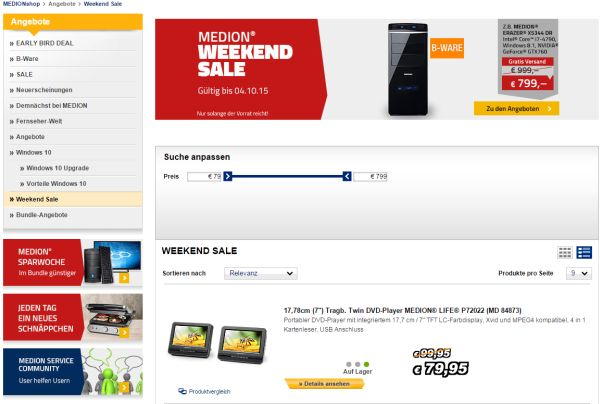 medion weekend sale 200 euro rabatt