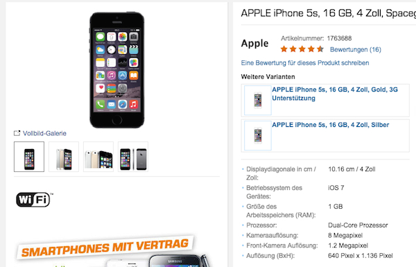 apple iphone 5s saturn top angebot