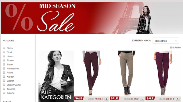 gerry weber mid season sale rabatt