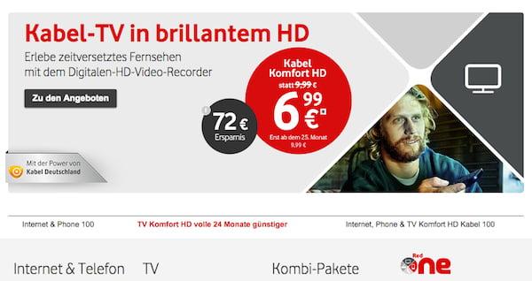 kabel deutschland tv komfort hd aktion
