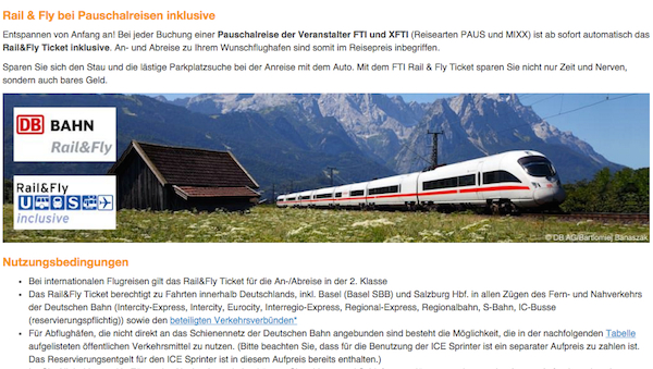 fti rail and fly ticket kostenlos