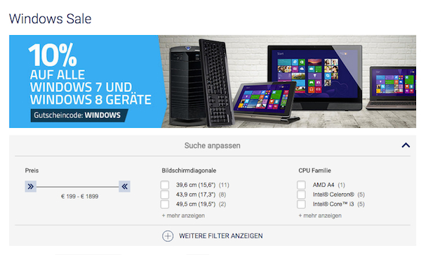 medion 10 prozent rabatt windows 7 windows 8 sale