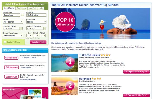 5vorflug Top 10 All Inclusive Reisen