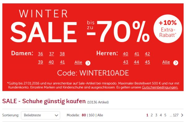 mirapodo winter sale 70 prozent rabatt 10 prozent on top