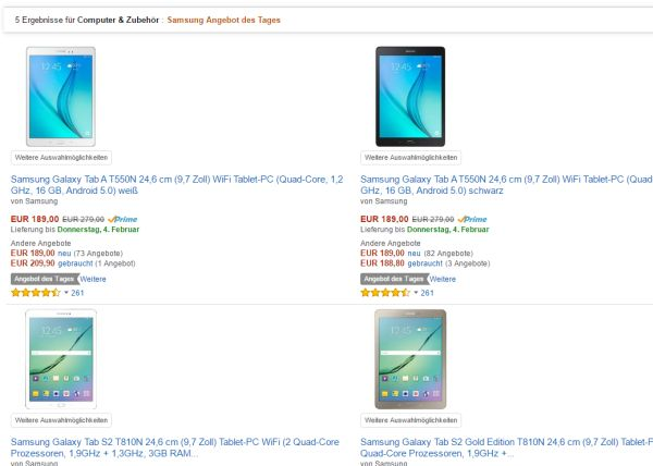 amazon 30 prozent rabatt samsung tablets