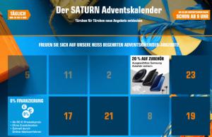 Saturn-Adventskalender mit weihnachtlichen Angeboten